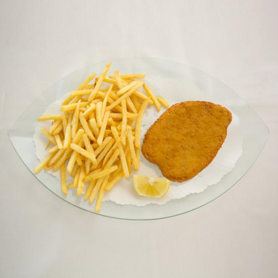 breaded, pan-fried chicken cutlet